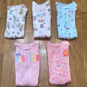 5 Baby Girl 3M Carter's Jammies! Wicked Cute!